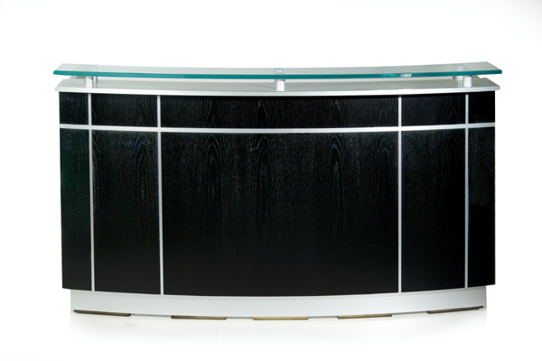 Prismo Atlantis Features A 3 4 Frosted Glass Transaction Counter Supported By Metal Stand Offs And Recessed Base